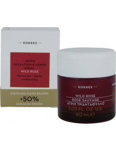 KORRES Wild Rose Cream 24h Normal Dry Skin 60ml