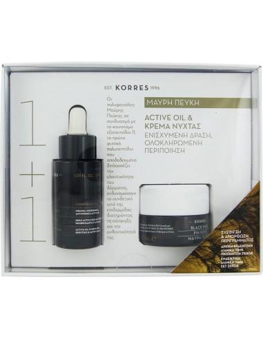 KORRES Black Pine Active Oil με ΔΩΡΟ Κρέμα Νύχτας ΣΕΤ
