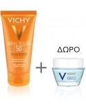 VICHY Ideal Soleil Skin Perfecting Velvety Cream SPF50+ 50ml & ΔΩΡΟ Aqualia Thermal Night Spa Cream 15ml