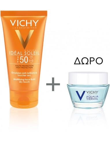 VICHY Ideal Soleil Emulsion Anti-Brillance Toucher Sec SPF50+ 50ml & ΔΩΡΟ Aqualia Thermal Night Spa Cream 15ml