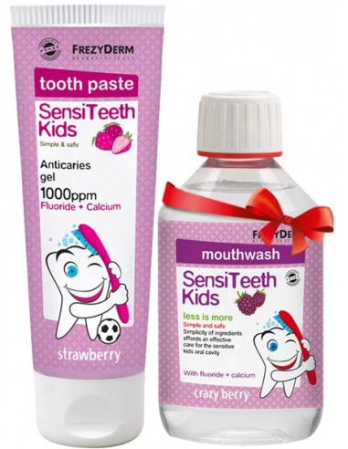 FREZYDERM Sensiteeth Kids Toothpaste 1000ppm 50ml & ΔΩΡΟ Mouthwash 100ml