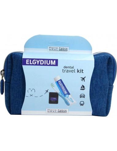 ELGYDIUM Antiplaque Toothpaste Dental Travel Kit Blue