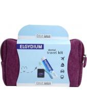 ELGYDIUM Dental Travel Kit Bordeaux (Antiplaque Toothpaste + Pocket Toothbrush + Dental Floss)