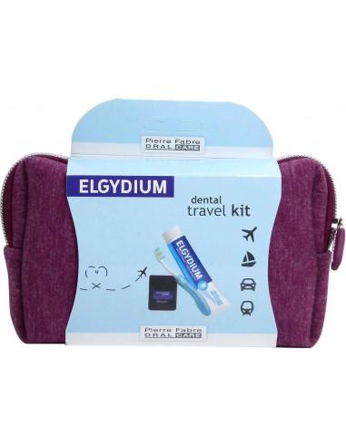 ELGYDIUM Antiplaque Toothpaste Dental Travel Kit Bordeaux
