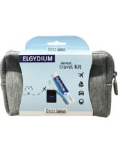 ELGYDIUM Dental Travel Kit Grey (Antiplaque Toothpaste + Pocket Toothbrush + Dental Floss)