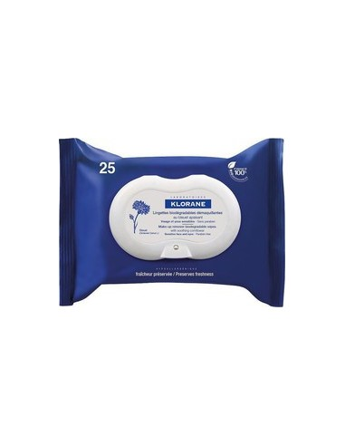 KLORANE Lingettes Demaquillantes au Bleuet Apaisant 25 pieces