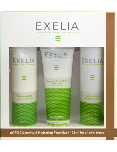 EXELIA Cleansing Milk 200ml & Tonic Lotion 200ml & ΔΩΡΟ Cleansing & Hydrating Face Mask 125ml