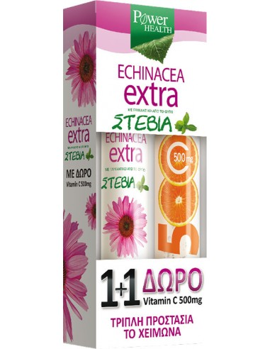 POWER HEALTH Echinacea Extra με Στέβια 24 αναβράζοντα δισκία + ΔΩΡΟ Vitamin C 500mg 20 αναβράζοντα δισκία